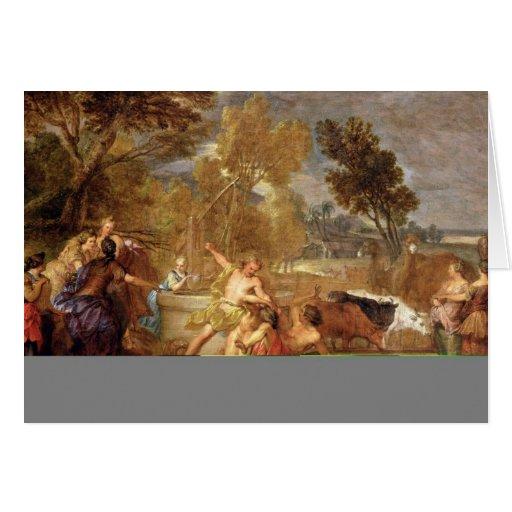 Moses y las hijas de Jethro Tarjetas