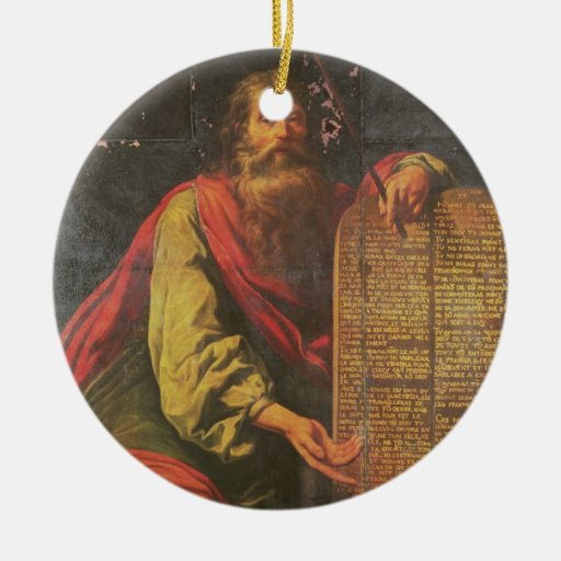 Moses y las tabletas de la ley adorno navideño redondo de cerámica