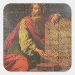 Moses y las tabletas de la ley pegatina cuadrada