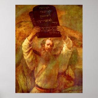 Moses y los 10 mandamientos póster
