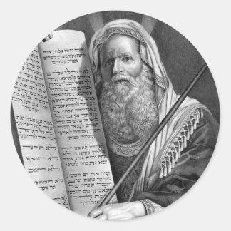 Moses y los diez mandamientos pegatina redonda