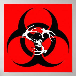 Mosh el poster del Biohazard del hoyo (rojo)
