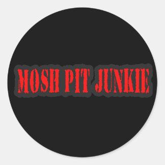 MOSH el punk rock del DROGADICTO del HOYO Pegatina Redonda