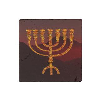 Moshe's Menorah Stone Magnet