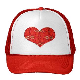 mosiac red heart trucker hat