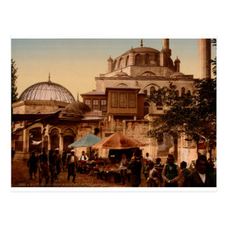 Mosque and street, Scutari, Constantinople, Turkey Postcard