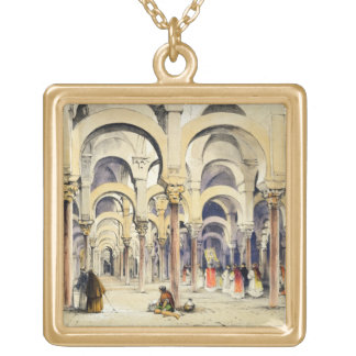 Mosque at Cordoba, from 'Sketches of Spain', engra Square Pendant Necklace