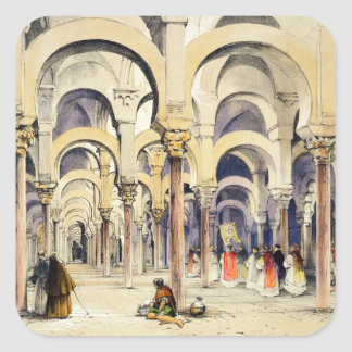 Mosque at Cordoba, from 'Sketches of Spain', engra Square Sticker