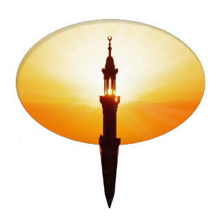 mosque at sunset cake topper