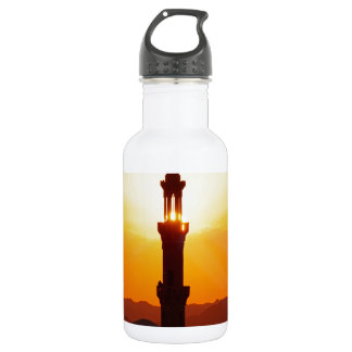 mosque at sunset water bottle