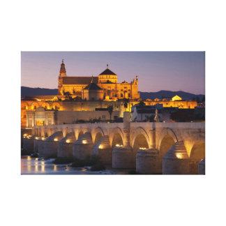 Mosque-cathedral Roman bridge and, Cordoba Canvas Print