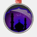 Mosque Design Round Metal Christmas Ornament