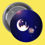 Mosque in Crescent Moon 3 Inch Round Button