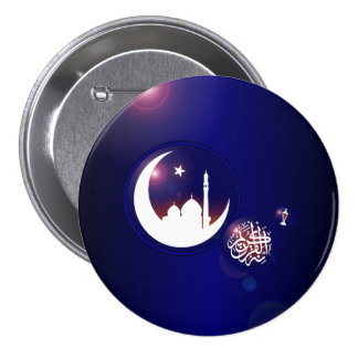 Mosque in Crescent Moon Button