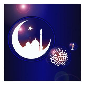 Mosque in Crescent Moon 5.25x5.25 Square Paper Invitation Card
