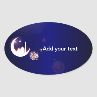 Mosque in Crescent Moon Oval Sticker