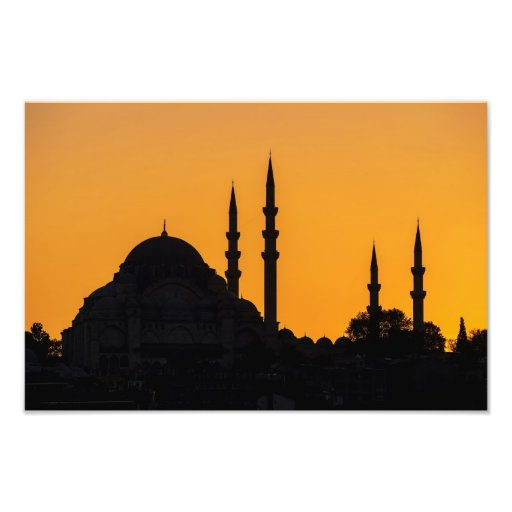 Mosque in Istanbul in Turkey with sunset Photographic Print