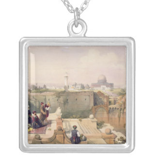 Mosque of Omar showing the Site of the Temple Silver Plated Necklace