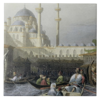 Mosque of Sultana Valide from the Port, engraved b Ceramic Tile