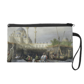 Mosque of Sultana Valide from the Port, engraved b Wristlet Purse