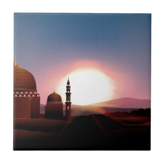 Mosque on the field at sunset ceramic tile