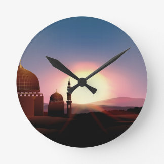 Mosque on the field at sunset round clock