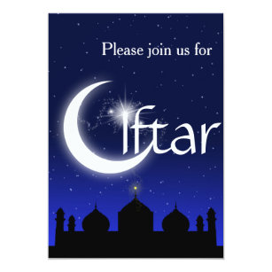 Iftar party invitations zazzle mosque silhouette at night iftar party invitation stopboris Image collections