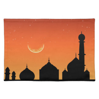 Mosque Silhouette Evening Sky - Cloth Placemat