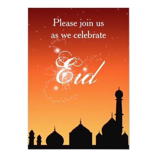 Mosque Silhouette Evening Sky Eid Party Invitation Zazzle Com