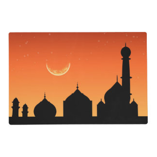 Mosque Silhouette Evening Sky - Laminated Placemat
