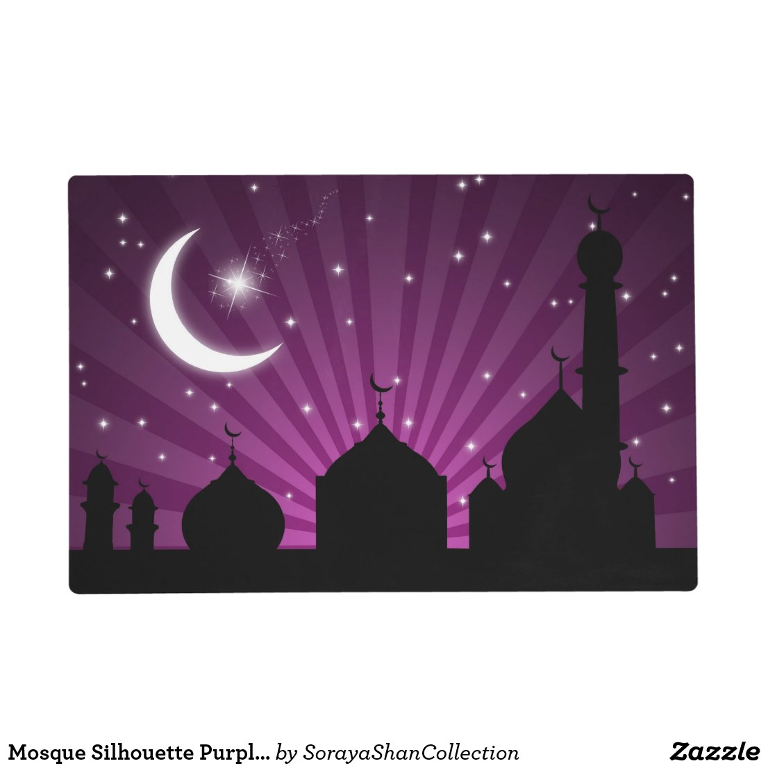 Mosque Silhouette Purple Night Laminated Placemat