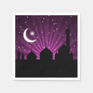 Mosque Silhouette Purple Night - Paper Napkin