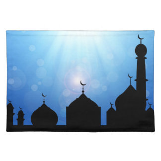 Mosque Silhouette with Sunburst - Placemat Cloth Place Mat