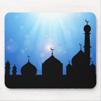 Mosque Silhouette with Sunrays - Mousepad