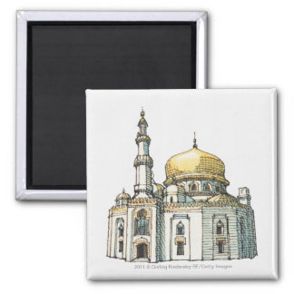 Mosque with gold onion dome and minaret 2 inch square magnet