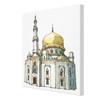 Mosque with gold onion dome and minaret canvas print