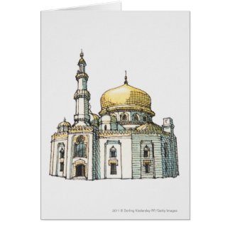 Mosque with gold onion dome and minaret card