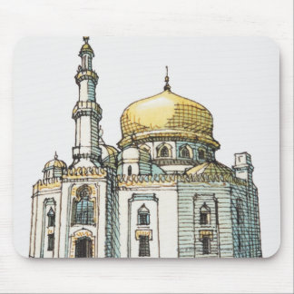 Mosque with gold onion dome and minaret mouse pad