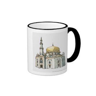 Mosque with gold onion dome and minaret mug