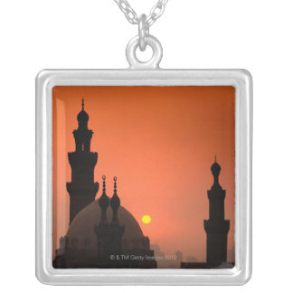 Mosques at Sunset Square Pendant Necklace
