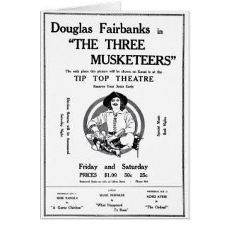 Mosqueteros 1922 del anuncio tres de la película d tarjeta de felicitación