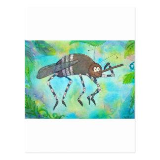 Mosquito colorido caprichoso que dobla los tarjetas postales