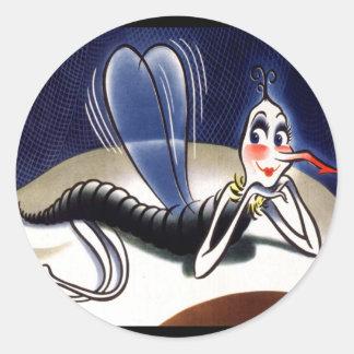 Mosquito de la señora malaria del vintage pegatina redonda