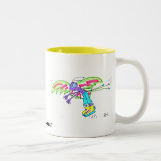 MOSQUITO MAN by Susan McGraw Keber Two-Tone Coffee Mug