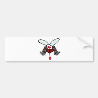 Mosquito rojo y gris del dibujo animado con la pegatina para auto