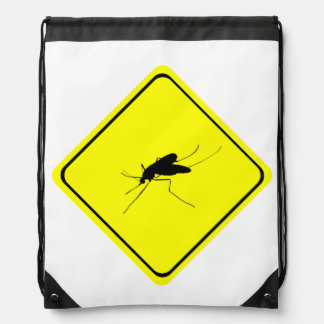 Mosquito Warning Sign Nuisance insect/bug pest Drawstring Bag