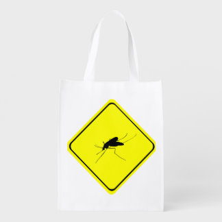 Mosquito Warning Sign Nuisance insect/bug pest Reusable Grocery Bag