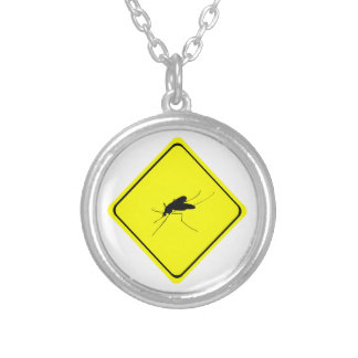 Mosquito Warning Sign Nuisance insect/bug pest Silver Plated Necklace