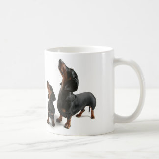 Mosquito with two dogs, dachshund classic white coffee mug