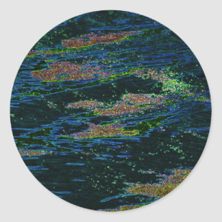 Moss Aglow On Water Classic Round Sticker